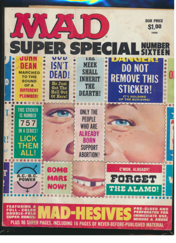 Mad Super Special #16, Water Damage With Stickers (Stuck Together)
