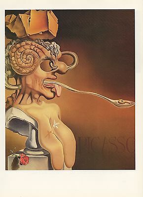 "1976 Vintage SALVADOR DALI ""PORTRAIT OF PICASSO"" WOW! COLOR offset Lithograph"