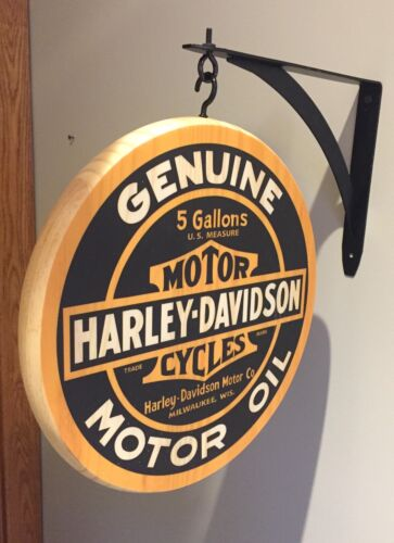 """Harley Davidson Genuine Motor Oil 12"""" (inch) Double Sided Pub Sign"""
