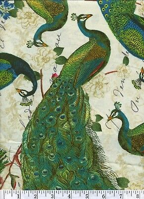 Large Peacock Arbor - Quilt Fabric - Free Shipping - 1 Yard