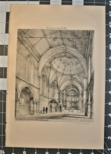 ENGRAVING 1883 BUILDING Church of All S.