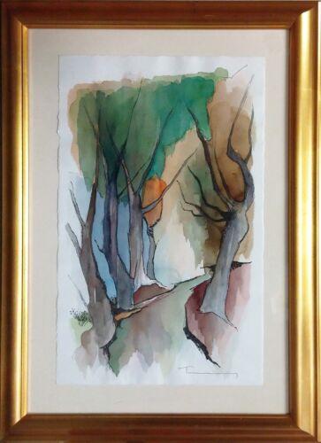 "Itzchak Tarkay ""autumn"" | Signed Original Watercolor | 22x14"" | Framed | Gallart"