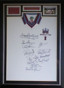 12-x-Signed-West-Ham-United-1980-FA-Cup-Final-Shirt-Photo-Display-Framed
