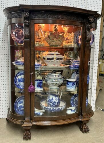 Antique American R.J. HORNER Golden Oak Curved Glass China Cabinet C1890