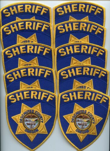 DESCHUTES COUNTY OREGON Trade Stock 10 Police Patches BLUE SHERIFF POLICE PATCH