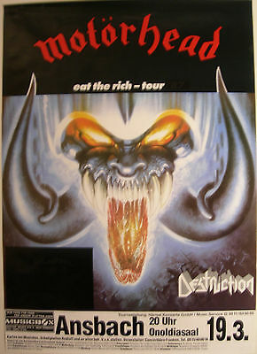 MOTORHEAD CONCERT TOUR POSTER 1988 ROCK 'N' ROLL ANSBACH