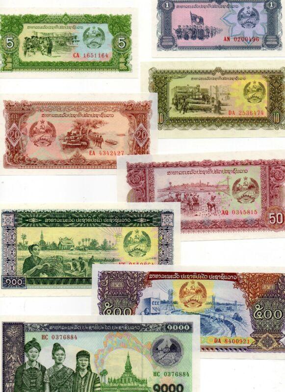 LAOS Asia Set of 8 pcs all UNC  1-1000 Kip 1979-2003