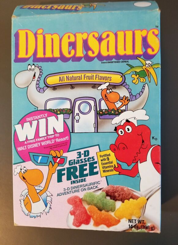 CEREAL BOX :  DINERSAURS  1988   RALSTON PURINA