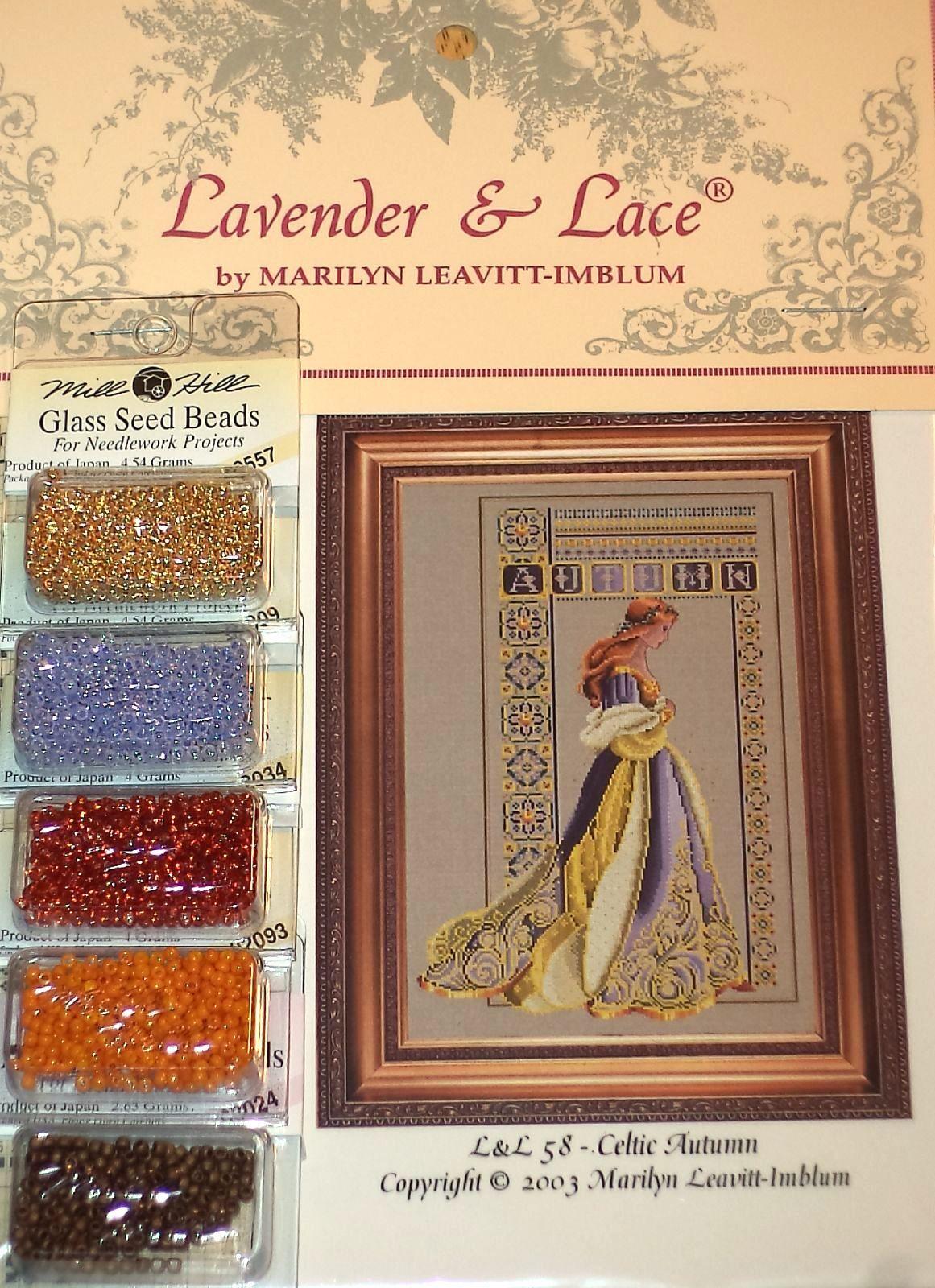Beads - You Choose! Lavender /& Lace CELTIC LADIES Cross Stitch Pattern etc
