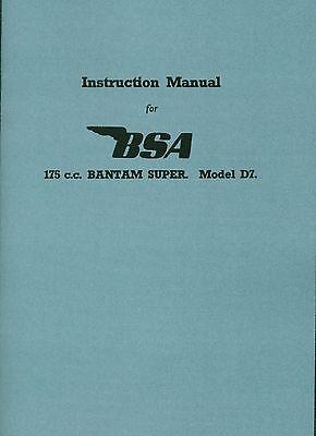 MC14:2-5 BSA Bantam D7 Super Instruction Manual good quality reprint