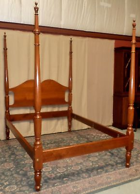 WALNUT FULL SIZE BED Tall Poster Double Bed VINTAGE