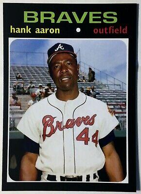 1971 Topps #400 Hank Aaron - Alternate Photo Reprint - Mint - Atlanta -
