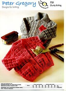 CHILDS CHUNKY JACKETS WITH CREW NECK OR COLLAR KNITTING PATTERN 20
