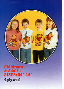 vintage disney`s winnie the pooh sweater knitting pattern book 99p