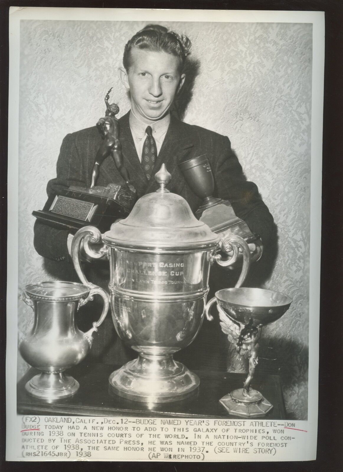 Original December 12 1938 Don Budge Wins Tournament Tennis Wire