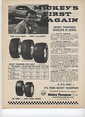 1973 Mickey Thompson Fifty Series Tire Ad First on the Track First on the Street