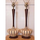Pair DANISH MODERN Ceramic & Wood TABLE LAMPS, Mid-Century, Vintage
