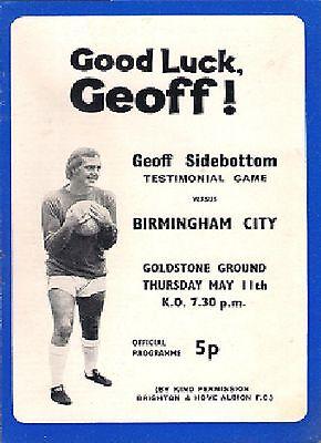 Brighton & Hove Albion v Birmingham City 1971-72 Geoff Sidebottom Testimonial