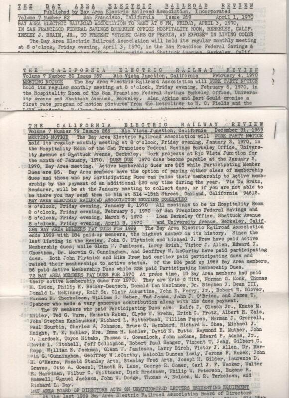 Bay Area Electric Railroad Association 1969-70 3 issues + 3 Railroad Brochures