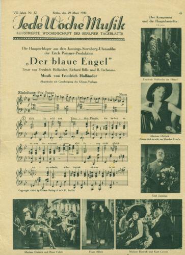 """Marlene Dietrich """"Der Blaue Engel"""" Noten, Fotos"""
