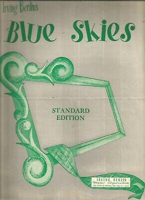 Blue Skies Standard Edition Irving Berlin Sheet Music1954 Blue Skies Irving Berlin