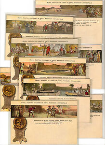 Ca 1910 Lot of 9 Radisson Hotel Ad Postcards w/Native Amerian Themes....(17Jpff)