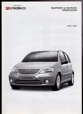 Citroen C3 Hatchback Specification 2002 UK Market Foldout Brochure