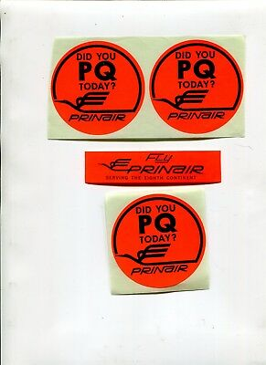 Vintage Airline Luggage Label Stickers PRINAIR PQ 4 pcs