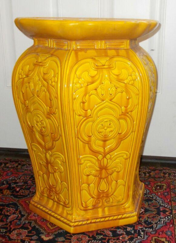 Antique MAJOLICA PLANT STAND Pedestal Garden Bench TABLE Art Nouveau Floral
