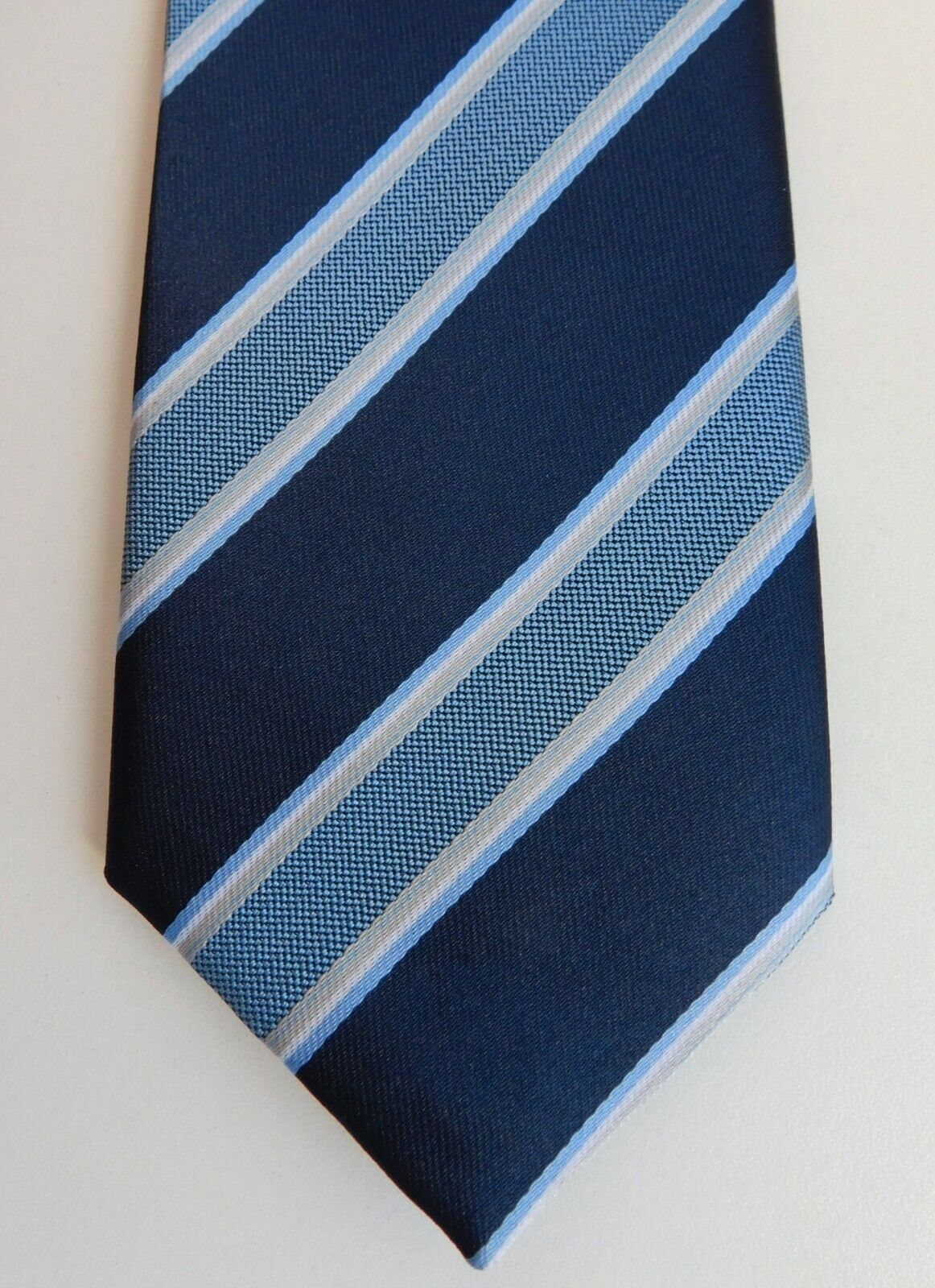 "Cheap and cheerful tie Blue stripes Matalan men's smart casual office 61"" long"