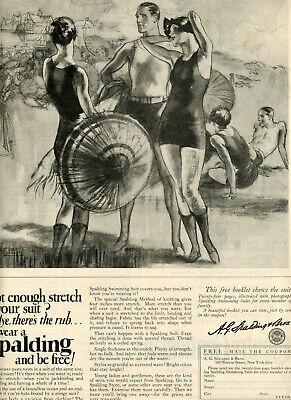 1926 Vintage Original SPALDING Bathing Suits Ad. John LaGATTA Art. Big Page