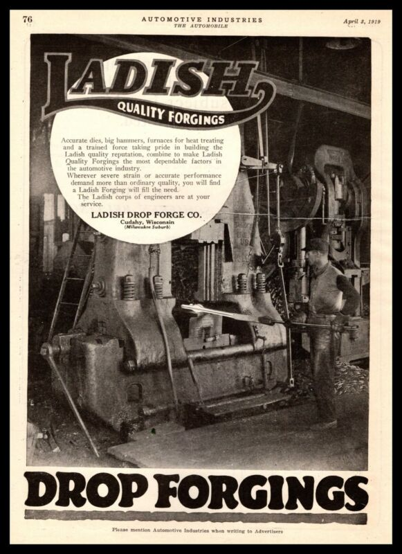 1919 Ladish Drop Forge Co. Cudahy Wisconsin Factory Plant Photo Vintage Print Ad
