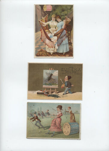 3 Victorian trade cards Eureka spool silk [S.206]