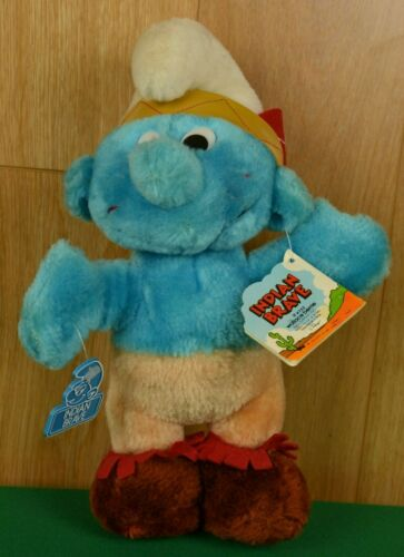 "Vintage 1983 Smurf Brave Plush 10"" Peyo Wallace Berrie with Tags #4752"