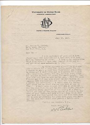 Knute Rockne Signed Letter TLS 1922 Autographed PSA/DNA Notre Dame Letterhead
