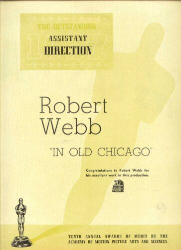 "38 ROBERT WEBB ""IN OLD CHICAGO""  20th Cent. Fox Asst. Director OSCAR CONGRATS AD"