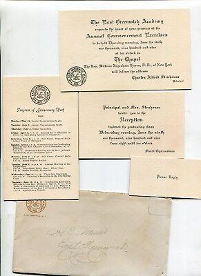 Vintage Graduation Invitation + EAST GREENWICH ACADEMY 1909 w env & program cd ()