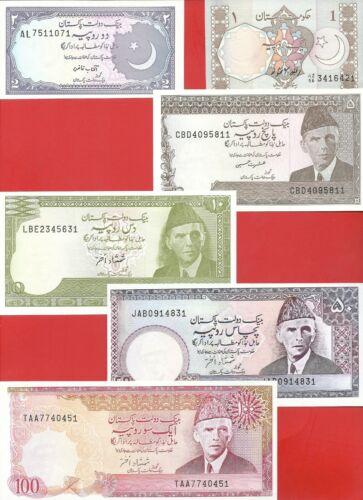 Pakistan 1 2 5 10 50 100 rupee 1983-86 set of 6 Uncirculated