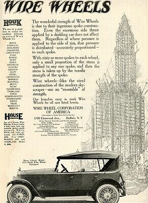 1920 Orig Wire Wheel Corp Ad. MOON LIBERTY Car.Houk & House Wheels. Buffalo NY