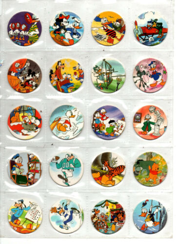 (20) Walt Disney Mickey, Donald, Goofy,Daisy Pogs/Milk Caps Blank Backs NR/Mint