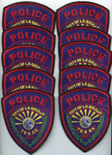 LA GRULLA LaGrulla TEXAS TX Patch Lot Trade Stock 10 Police Patches POLICE PATCH