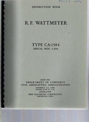 Original Bird Ca-1584 Rf Wattmeter Instruction Book Published For Us Government