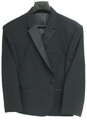New Mens Black Tuxedo Jacket One Button Front with Satin Notch Lapels 47 Regular Black Notched One Button Tuxedo
