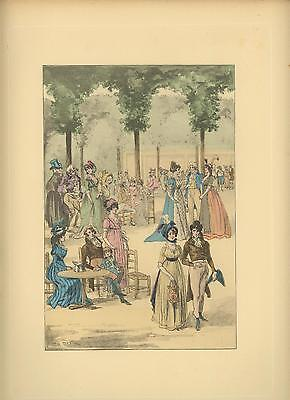 ANTIQUE H/C 16TH 17TH C FASHION COSTUME GARDEN ROYAL PALACE LOUIS MORIN PRINT