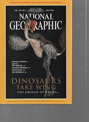National Geographic   July 1998   Dinosaurs  Birds  Natural Hazards  Frogfish