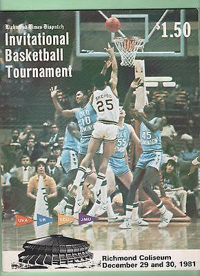 Richmond Times Dispatch Basketball Tournament 1981 Program Uva Sampson