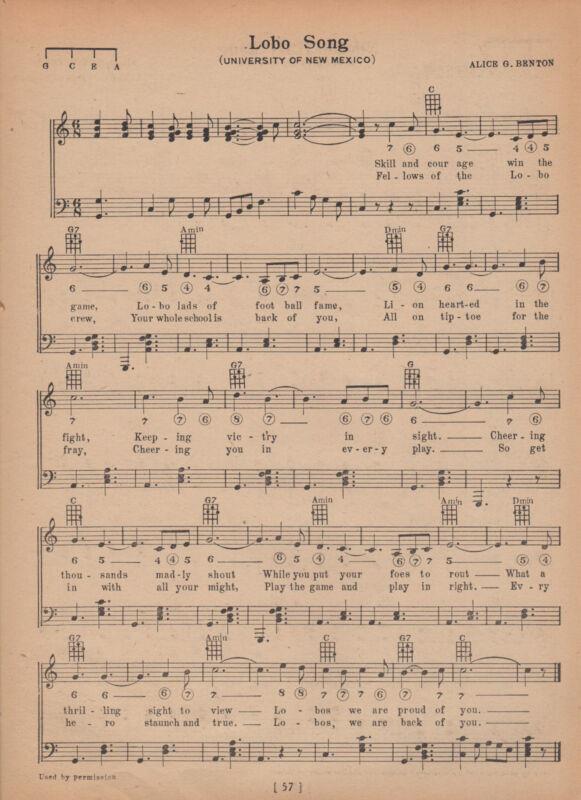 Vtg. UNIVERSITY OF NEW MEXICO song sheet -