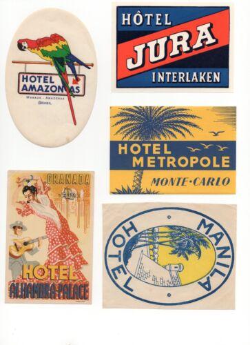 Vintage Hotel Luggage Labels  - lot of 5