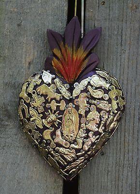 Deep Purple Sacred Heart Wood Milagro Covered Folk Art Michoacán Mexico Love