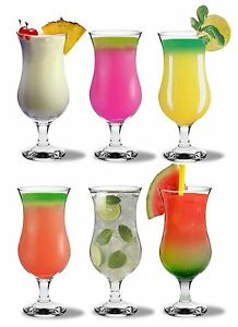 Pina Colada Cocktail Glasses. Fiesta Hurricane Large Glasses - 460ml - x6